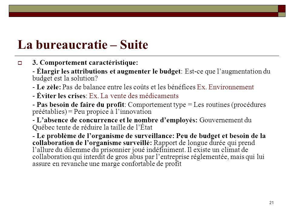 21 La bureaucratie – Suite 3. Comportement caractéristique: - Élargir les attributions et augmenter le budget: Est-ce que laugmentation du budget est