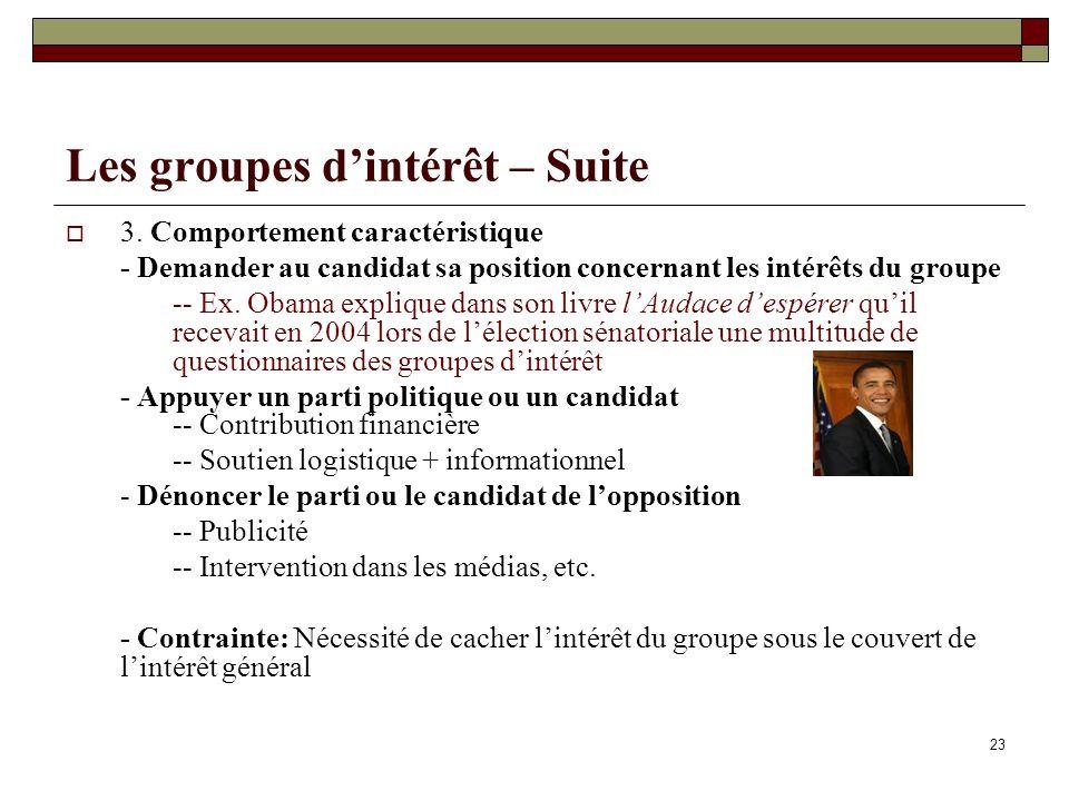 23 Les groupes dintérêt – Suite 3. Comportement caractéristique - Demander au candidat sa position concernant les intérêts du groupe -- Ex. Obama expl