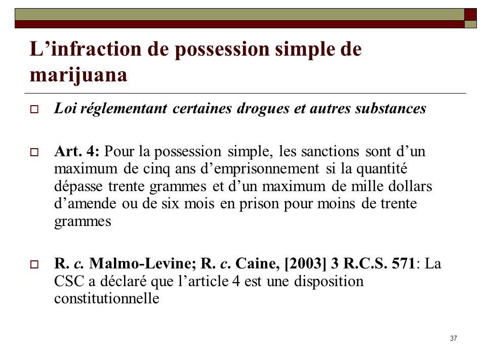 37 Linfraction de possession simple de marijuana Loi réglementant certaines drogues et autres substances Art. 4: Pour la possession simple, les sancti