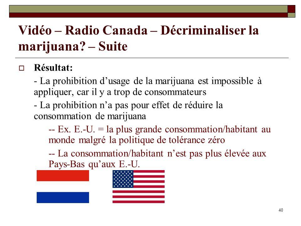 40 Vidéo – Radio Canada – Décriminaliser la marijuana? – Suite Résultat: - La prohibition dusage de la marijuana est impossible à appliquer, car il y