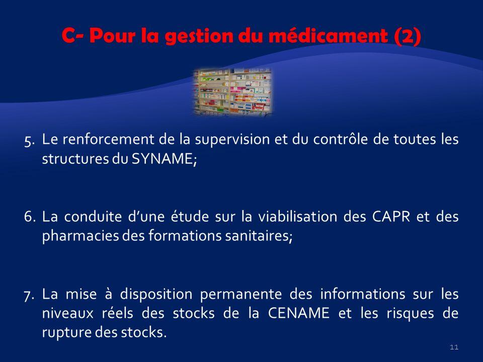 C- Pour la gestion du médicament (2) 5.Le renforcement de la supervision et du contrôle de toutes les structures du SYNAME; 6.La conduite dune étude s