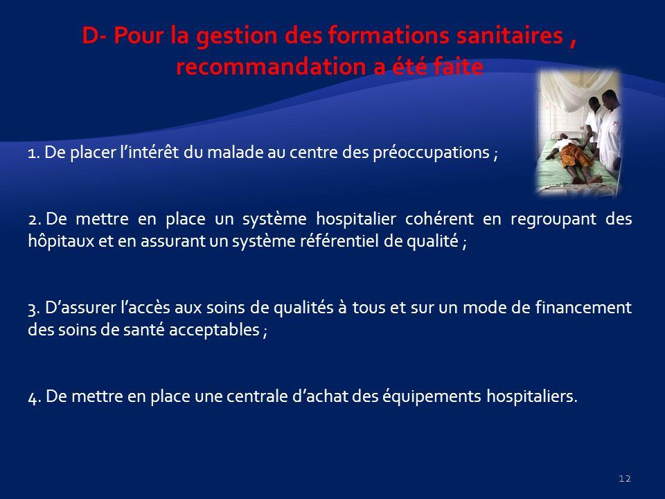 D- Pour la gestion des formations sanitaires, recommandation a été faite 1. De placer lintérêt du malade au centre des préoccupations ; 2. De mettre e