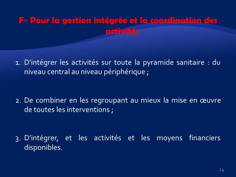 F- Pour la gestion intégrée et la coordination des activités 1.Dintégrer les activités sur toute la pyramide sanitaire : du niveau central au niveau p