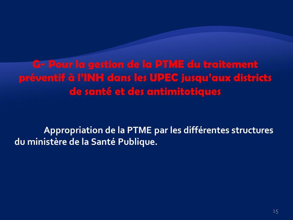 G- Pour la gestion de la PTME du traitement préventif à lINH dans les UPEC jusquaux districts de santé et des antimitotiques Appropriation de la PTME