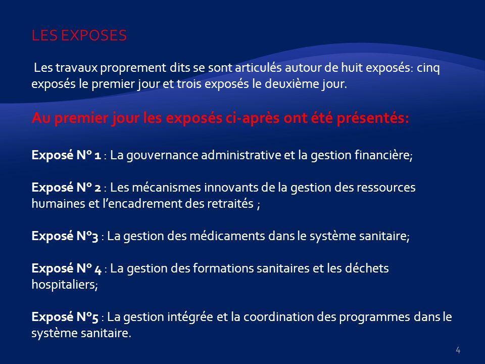 Au deuxième jour, les exposés suivants ont été présentés et discutés Exposé N° 6 : La gestion de la prévention de la transmission Mère-Enfant du VIH (PTME), du traitement préventif à lINH dans les UPEC jusquaux districts de santé, et la gestion des antimitotiques; Exposé N° 7 : La gestion budgétaire et du patrimoine à savoir Budget dinvestissement publique (BIP), Budget de fonctionnement (BF), IADM, C2D, PPTE et autres; Exposé N° 8 : Les enjeux de gestion liés à la coopération en contexte du SWAP/ Santé.