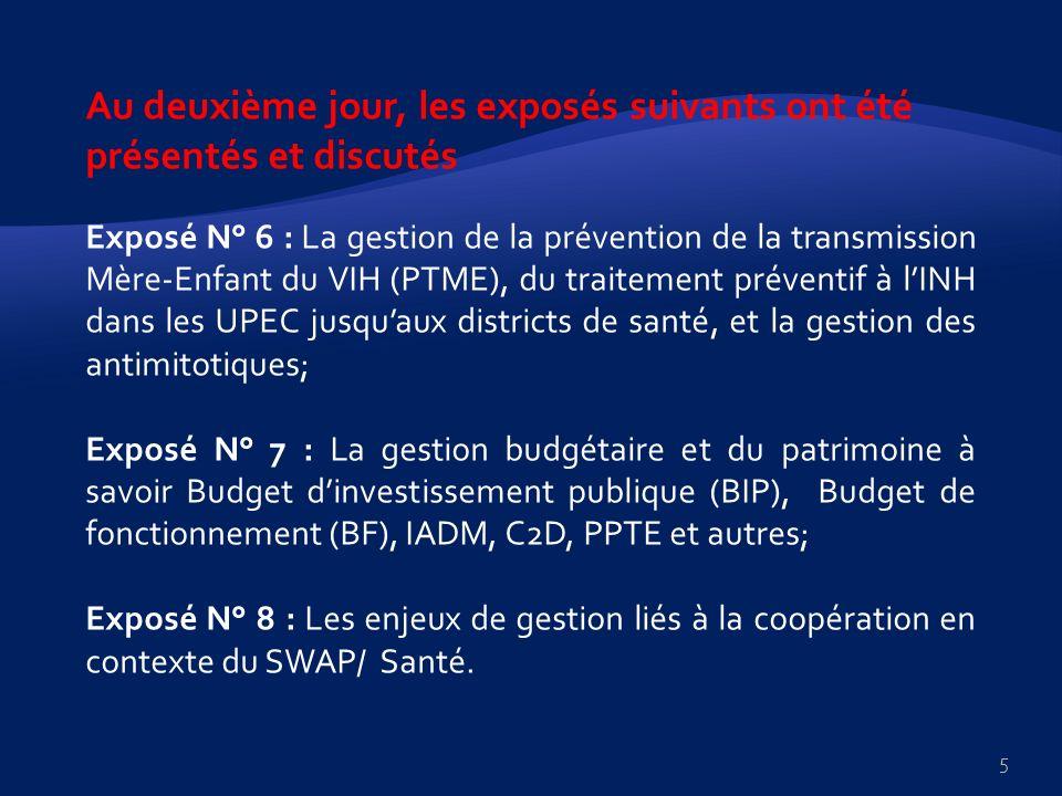 H- La gestion budgétaire et du patrimoine à savoir budget dinvestissement public ( BIP), budget de fonctionnement (BF), IADM, C2D, PPTE et les autres 1.
