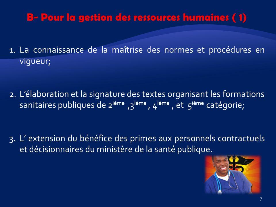 B- Pour la gestion des ressources humaines ( 1) 1.La connaissance de la maîtrise des normes et procédures en vigueur; 2.Lélaboration et la signature d