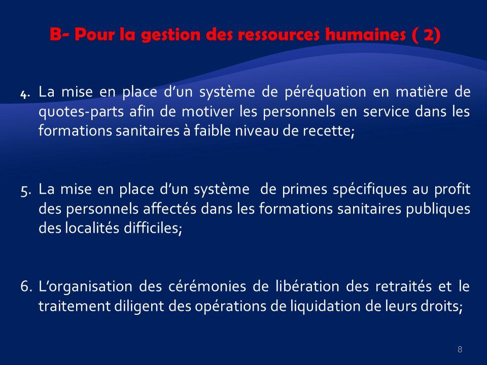 B- Pour la gestion des ressources humaines ( 2) 4. La mise en place dun système de péréquation en matière de quotes-parts afin de motiver les personne