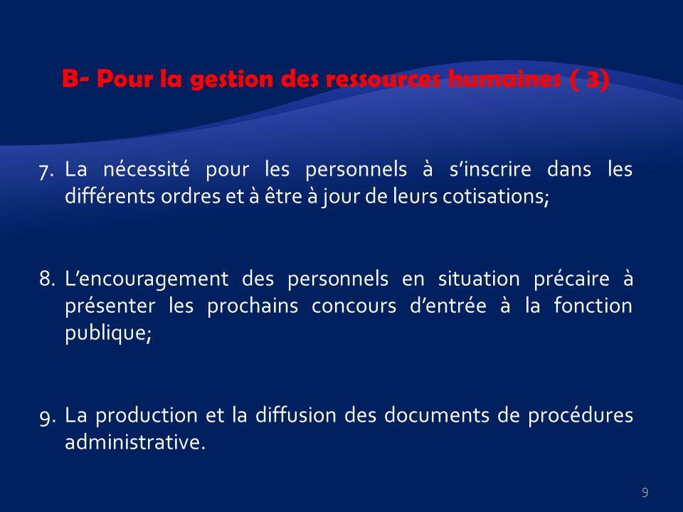 B- Pour la gestion des ressources humaines ( 3) 7.La nécessité pour les personnels à sinscrire dans les différents ordres et à être à jour de leurs co