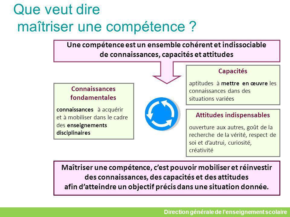 Une compétence est un ensemble cohérent et indissociable de connaissances, capacités et attitudes Capacités aptitudes à mettre en œuvre les connaissan