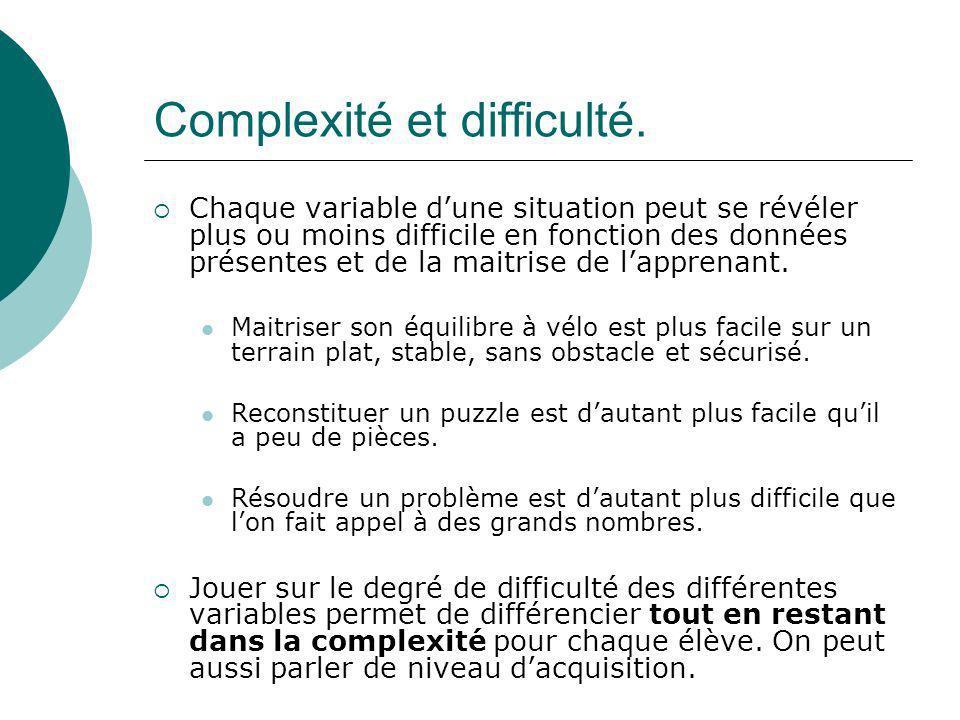 Complexité et difficulté. Chaque variable dune situation peut se révéler plus ou moins difficile en fonction des données présentes et de la maitrise d