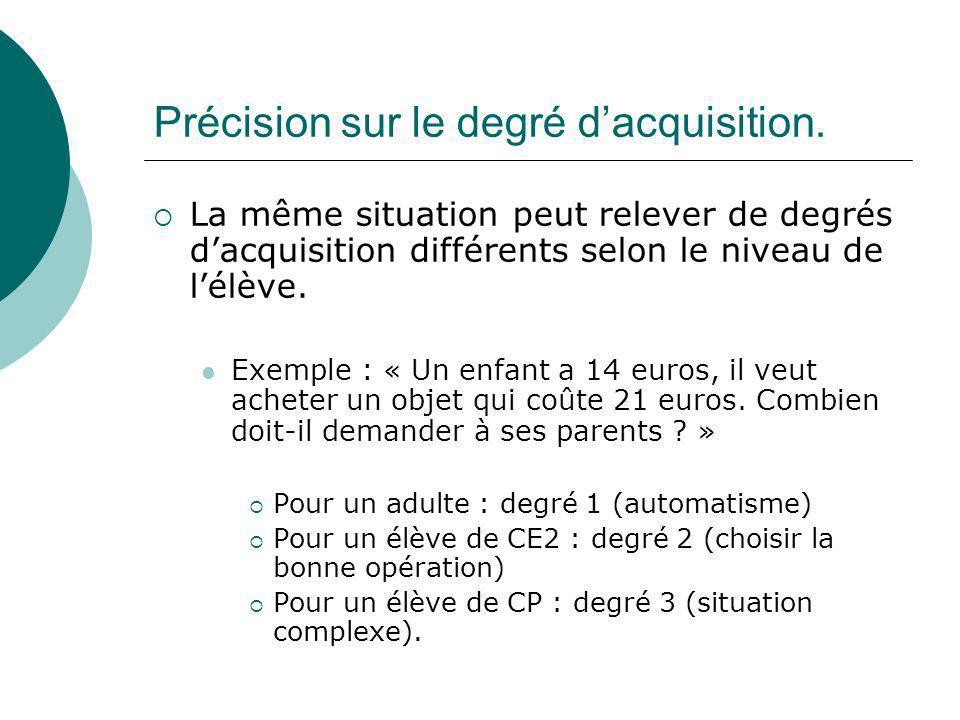 Précision sur le degré dacquisition. La même situation peut relever de degrés dacquisition différents selon le niveau de lélève. Exemple : « Un enfant