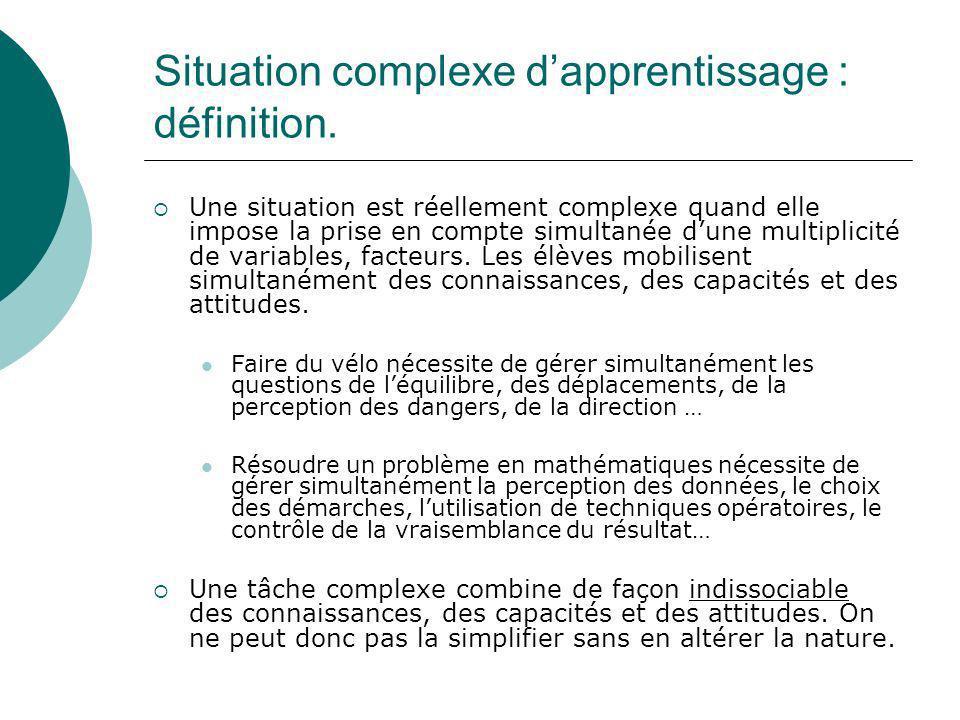 Situation complexe dapprentissage : définition. Une situation est réellement complexe quand elle impose la prise en compte simultanée dune multiplicit