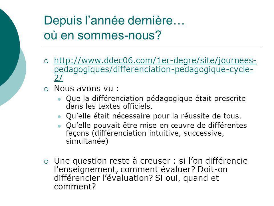 Depuis lannée dernière… où en sommes-nous? http://www.ddec06.com/1er-degre/site/journees- pedagogiques/differenciation-pedagogique-cycle- 2/ http://ww