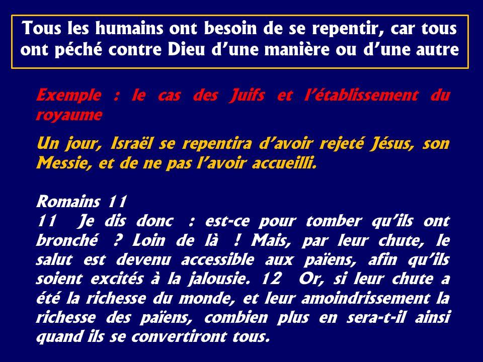 Exemple : le cas des Juifs et létablissement du royaume Un jour, Israël se repentira davoir rejeté Jésus, son Messie, et de ne pas lavoir accueilli. R