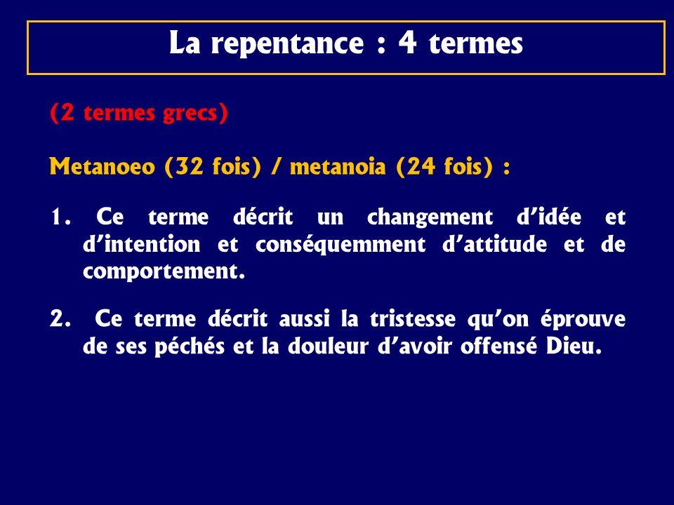 La vraie repentance est une condition au salut Marc 1:4 Jean parut, baptisant dans le désert, et prêchant le baptême de repentance, pour le pardon des péchés.