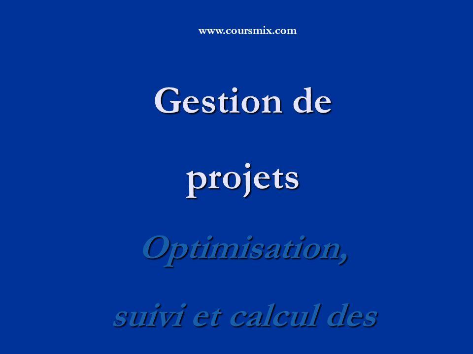 Gestion de projets Optimisation, suivi et calcul des performance www.coursmix.com