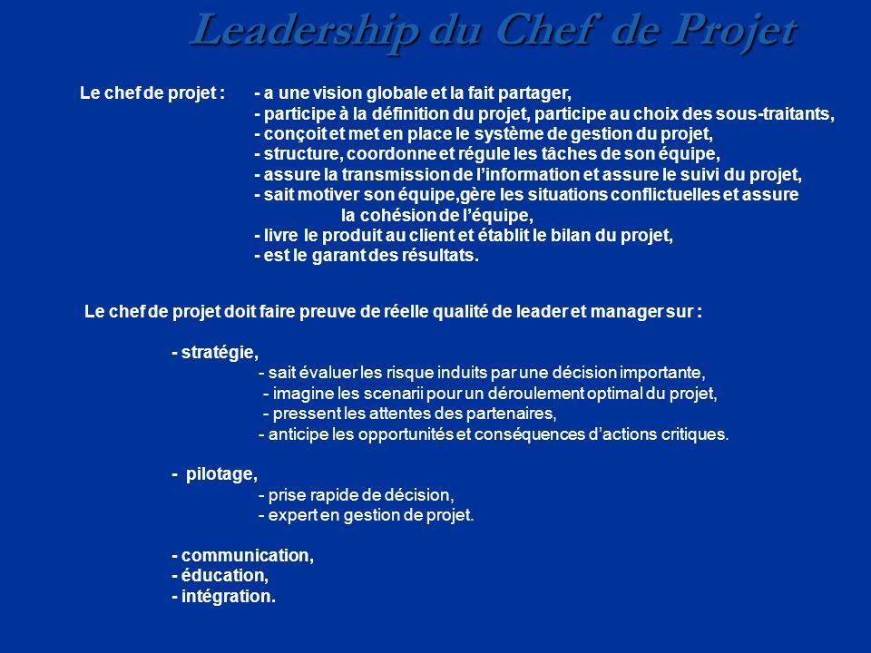 Leadership du Chef de Projet Le chef de projet :- a une vision globale et la fait partager, - participe à la définition du projet, participe au choix