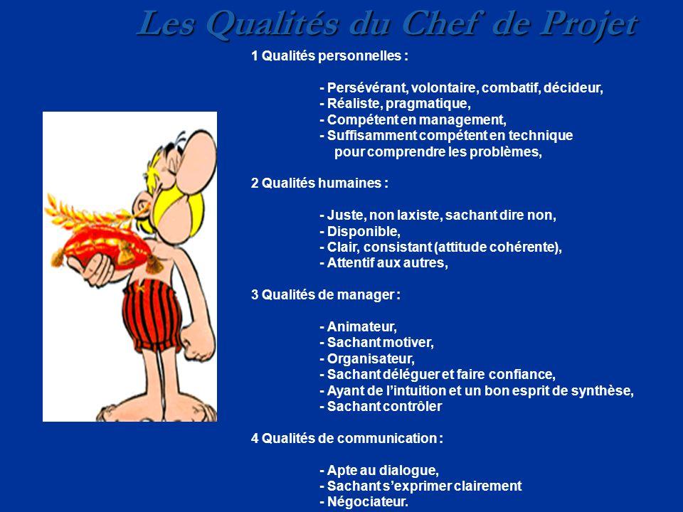Les Qualités du Chef de Projet 1 Qualités personnelles : - Persévérant, volontaire, combatif, décideur, - Réaliste, pragmatique, - Compétent en manage
