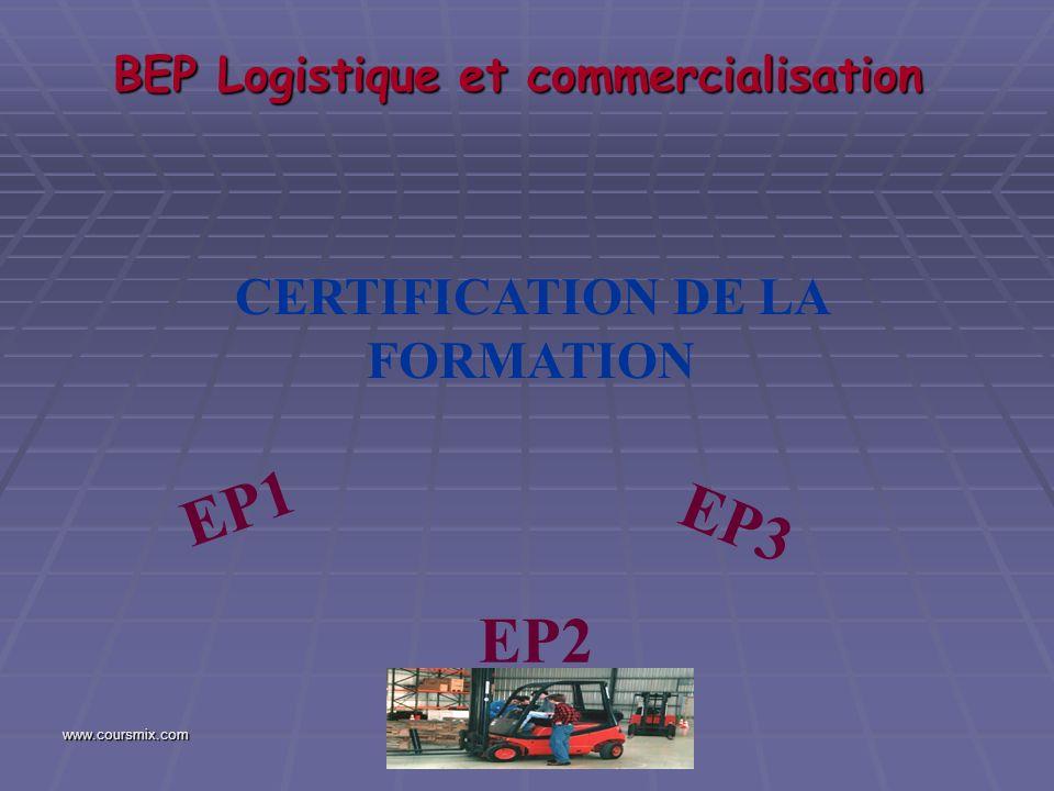 www.coursmix.com BEP Logistique et commercialisation CERTIFICATION DE LA FORMATION EP1 EP3 EP2