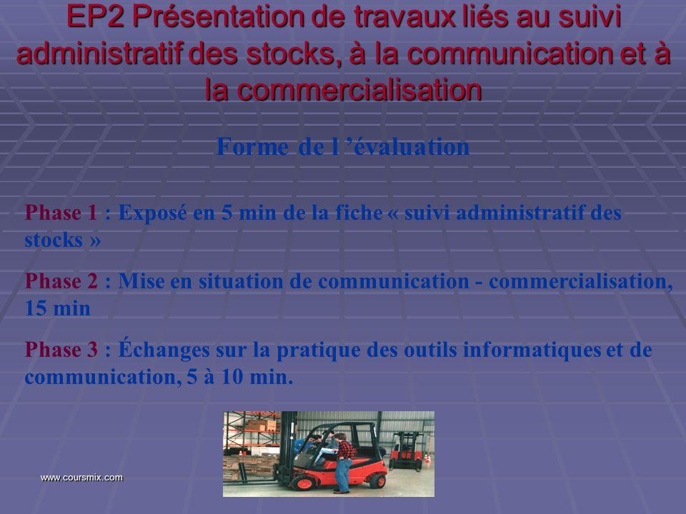 www.coursmix.com EP2 Présentation de travaux liés au suivi administratif des stocks, à la communication et à la commercialisation Forme de l évaluatio