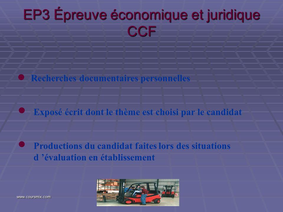 www.coursmix.com EP3 Épreuve économique et juridique CCF Recherches documentaires personnelles Exposé écrit dont le thème est choisi par le candidat P