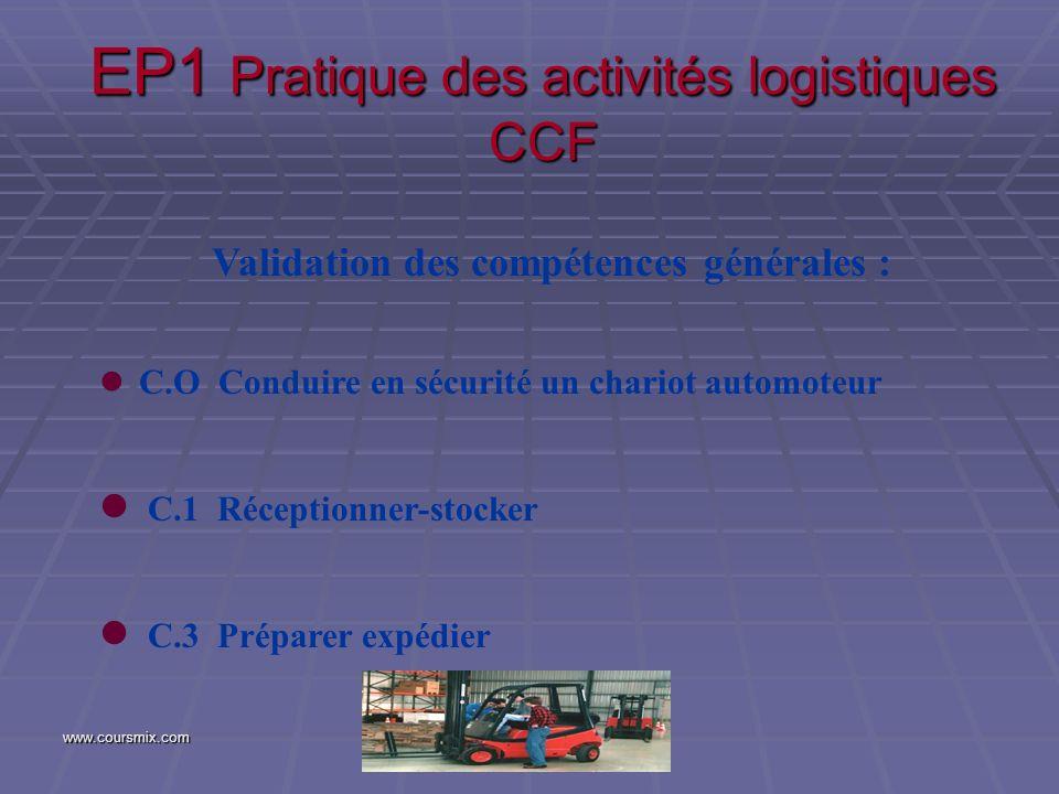 www.coursmix.com EP1 Pratique des activités logistiques CCF Validation des compétences générales : l C.O Conduire en sécurité un chariot automoteur l