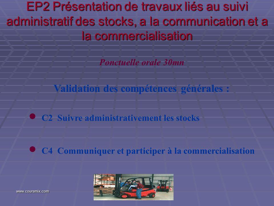 www.coursmix.com EP2 Présentation de travaux liés au suivi administratif des stocks, a la communication et a la commercialisation Validation des compé