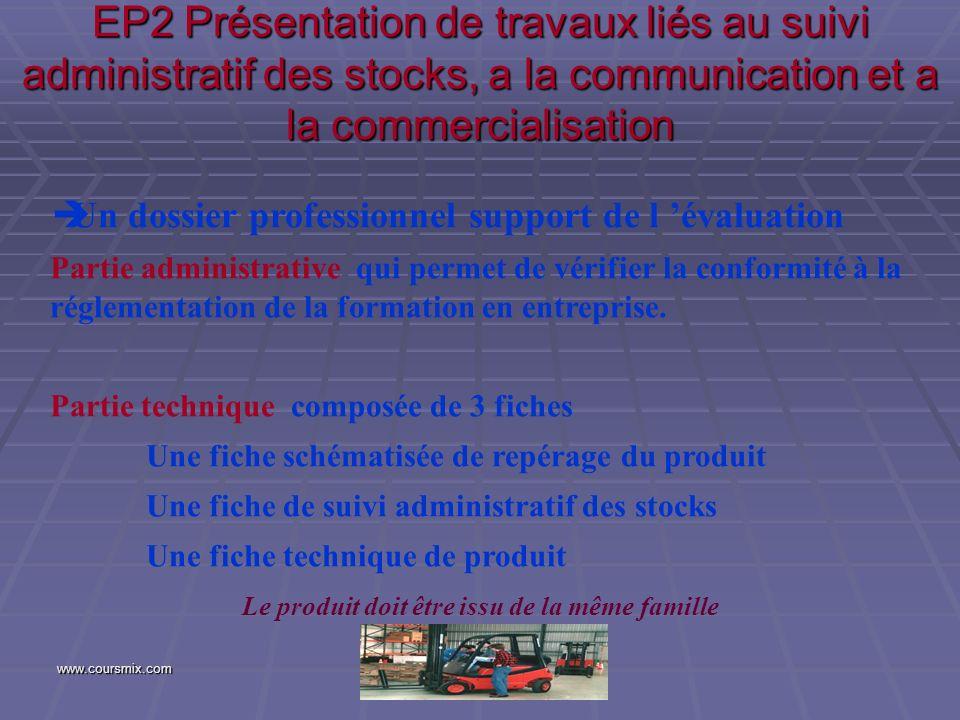 www.coursmix.com EP2 Présentation de travaux liés au suivi administratif des stocks, a la communication et a la commercialisation Un dossier professio