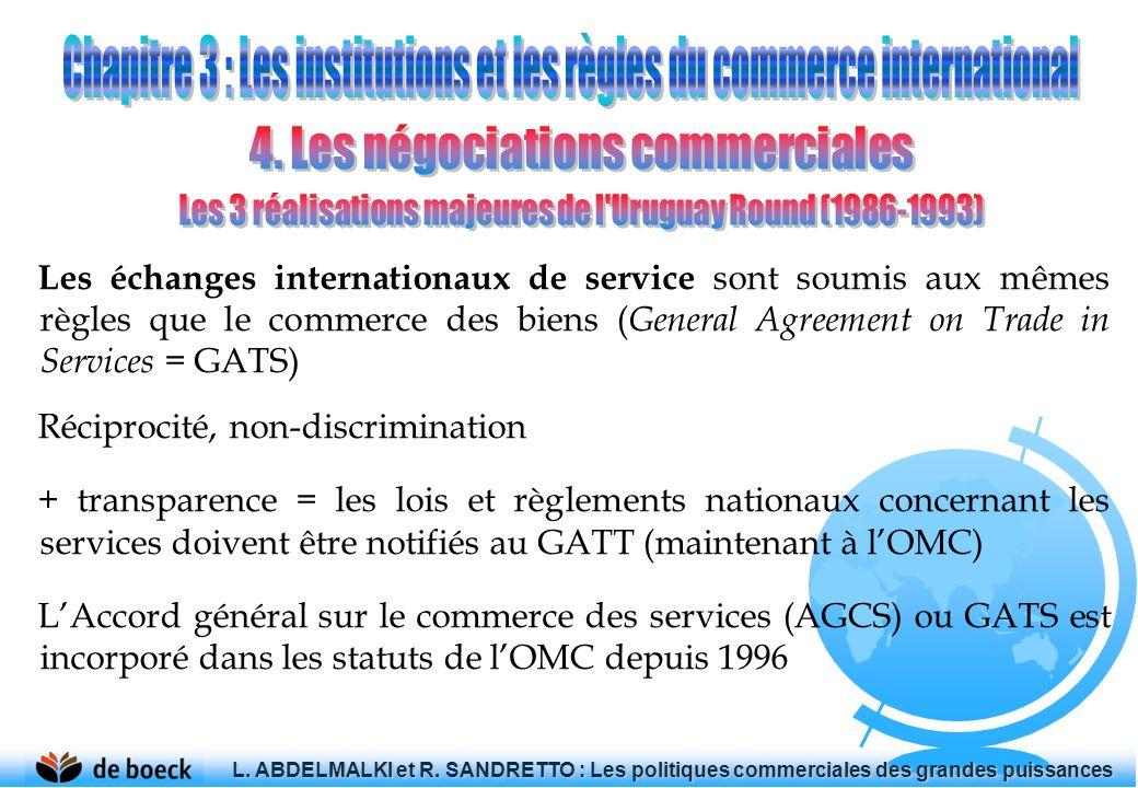 Les échanges internationaux de service sont soumis aux mêmes règles que le commerce des biens ( General Agreement on Trade in Services = GATS) Récipro