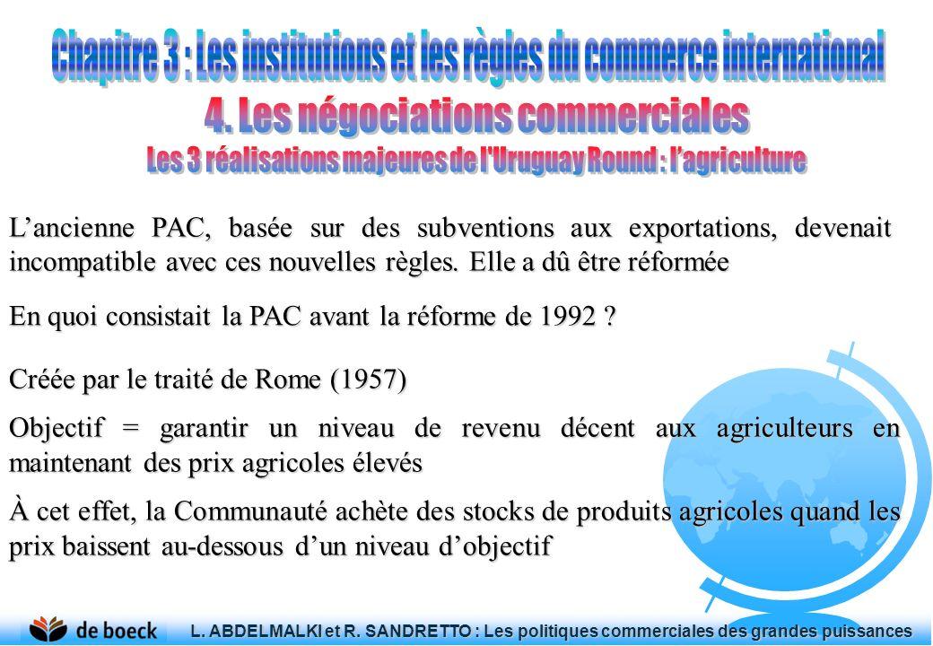 Créée par le traité de Rome (1957) Objectif = garantir un niveau de revenu décent aux agriculteurs en maintenant des prix agricoles élevés À cet effet