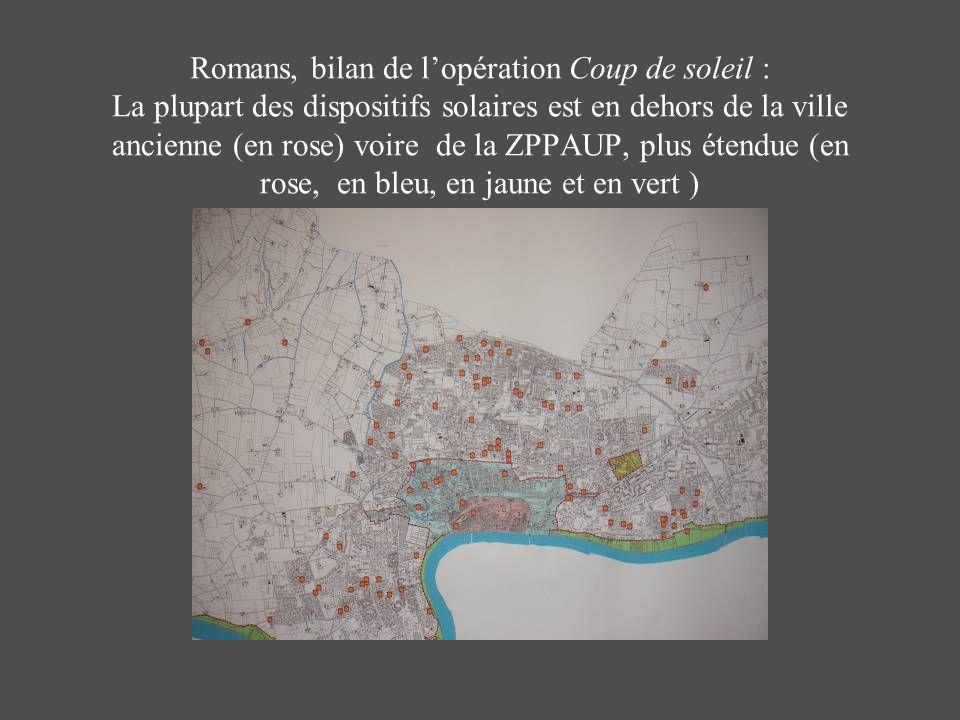 Romans, bilan de lopération Coup de soleil : La plupart des dispositifs solaires est en dehors de la ville ancienne (en rose) voire de la ZPPAUP, plus