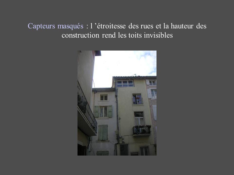 Capteurs masqués : l étroitesse des rues et la hauteur des construction rend les toits invisibles