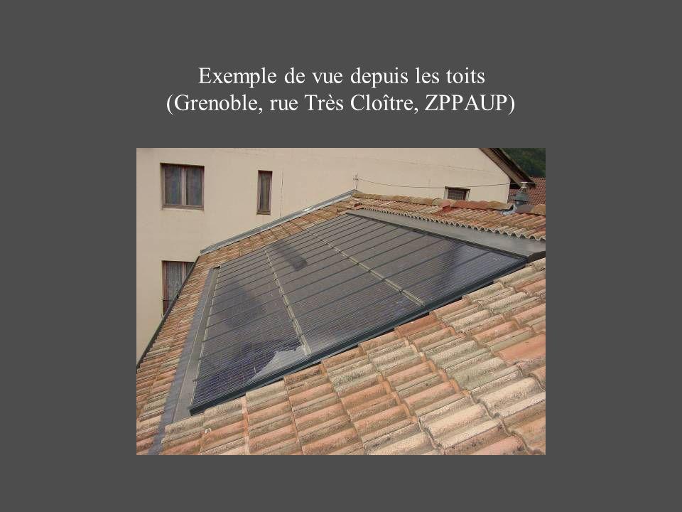 Exemple de vue depuis les toits (Grenoble, rue Très Cloître, ZPPAUP)