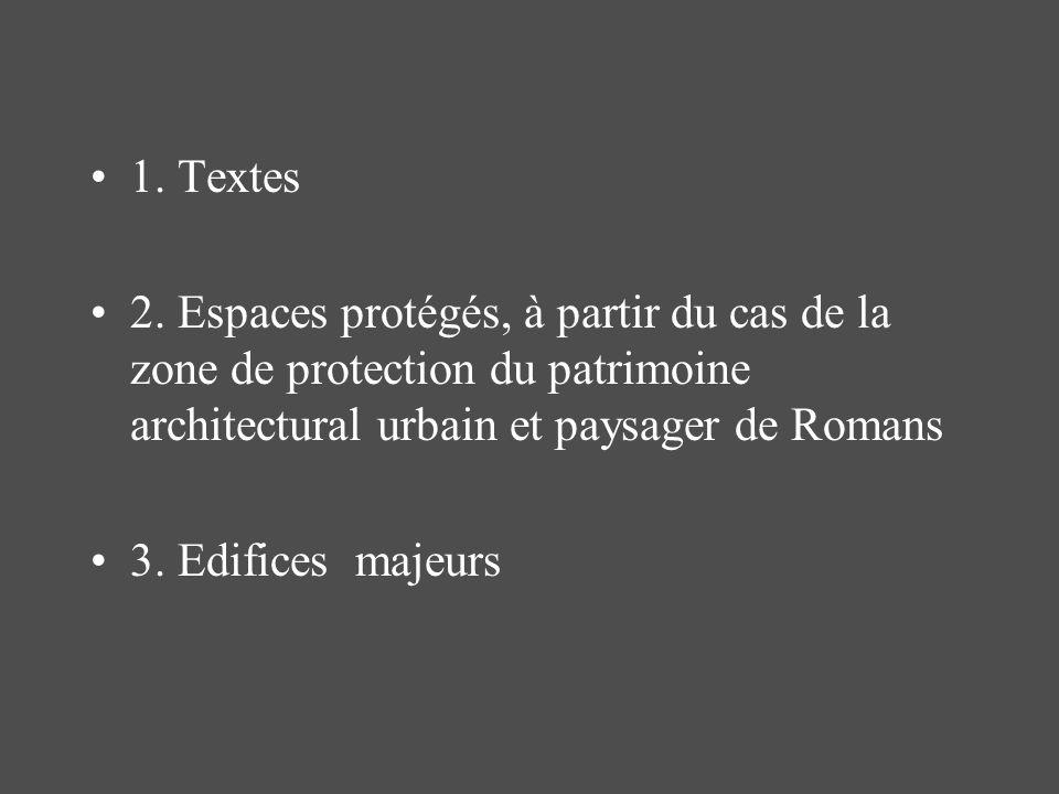 1. Textes 2. Espaces protégés, à partir du cas de la zone de protection du patrimoine architectural urbain et paysager de Romans 3. Edifices majeurs