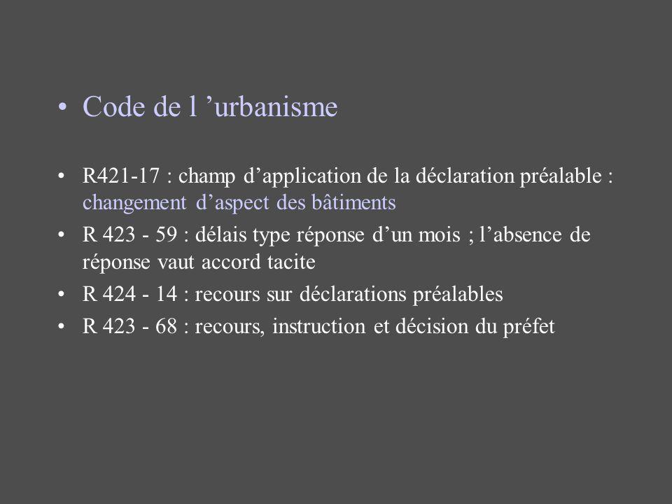 Code de l urbanisme R421-17 : champ dapplication de la déclaration préalable : changement daspect des bâtiments R 423 - 59 : délais type réponse dun m