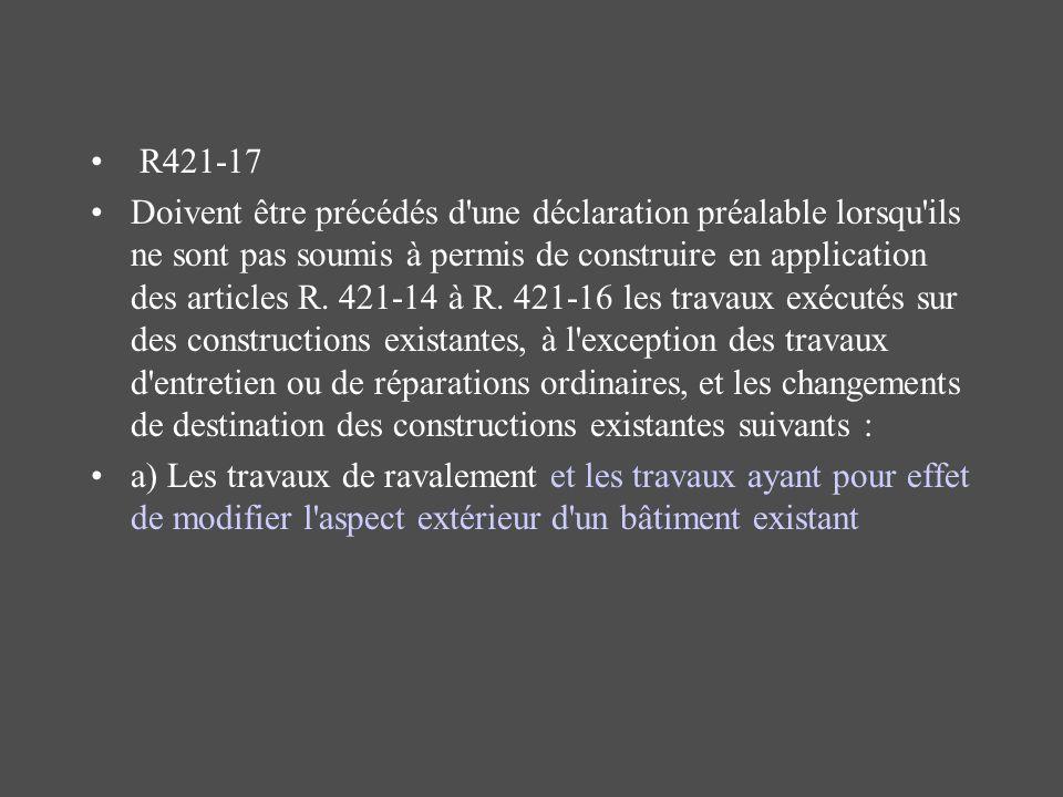 R421-17 Doivent être précédés d'une déclaration préalable lorsqu'ils ne sont pas soumis à permis de construire en application des articles R. 421-14 à