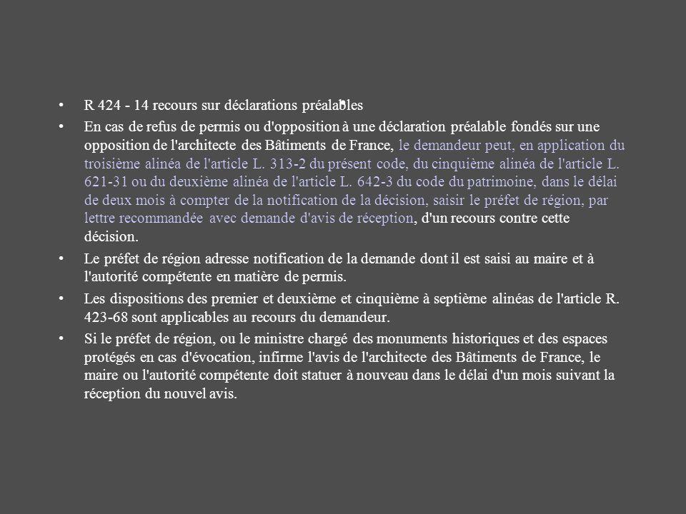 . R 424 - 14 recours sur déclarations préalables En cas de refus de permis ou d'opposition à une déclaration préalable fondés sur une opposition de l'