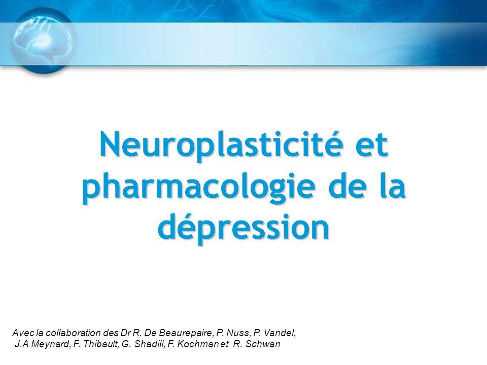 Neuroplasticité et pharmacologie de la dépression Avec la collaboration des Dr R. De Beaurepaire, P. Nuss, P. Vandel, J.A Meynard, F. Thibault, G. Sha