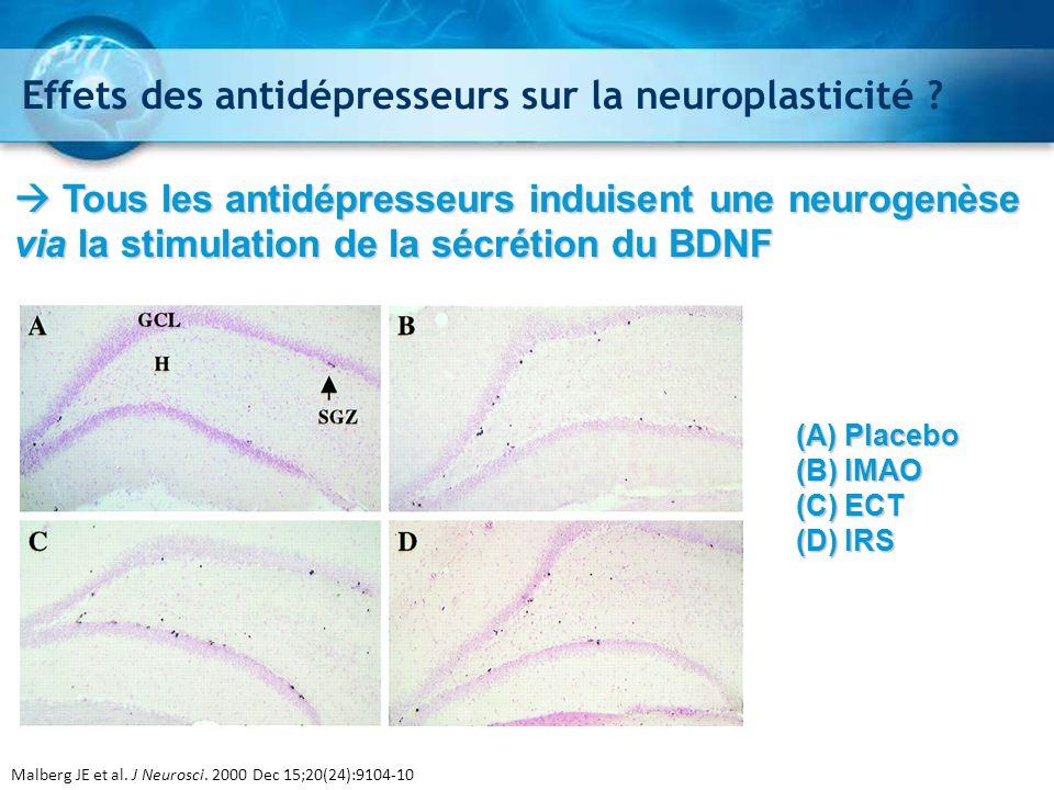 (A) Placebo (B) IMAO (C) ECT (D) IRS Malberg JE et al. J Neurosci. 2000 Dec 15;20(24):9104-10 Effets des antidépresseurs sur la neuroplasticité ? Tous