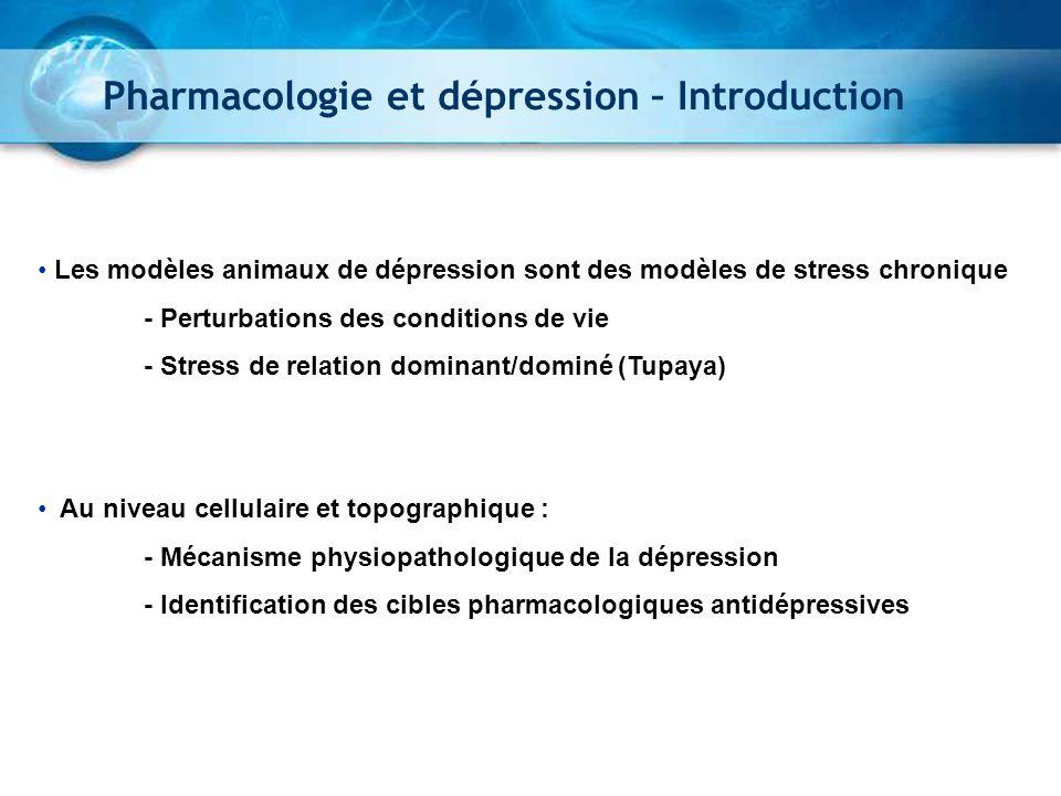 Czéh et al., 2007 Pharmacologie et dépression – Introduction Les modèles animaux de dépression sont des modèles de stress chronique - Perturbations de