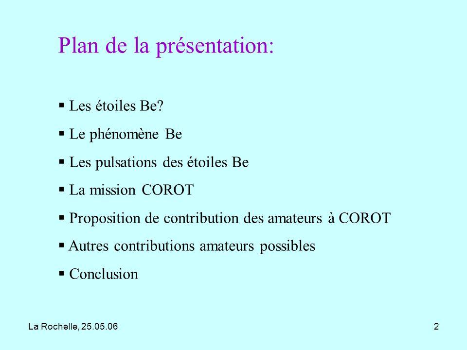 La Rochelle, 25.05.0613 Les pulsations R = 6 Rsoleil M = 8 Msoleil T = 20000 K Diagramme H-R