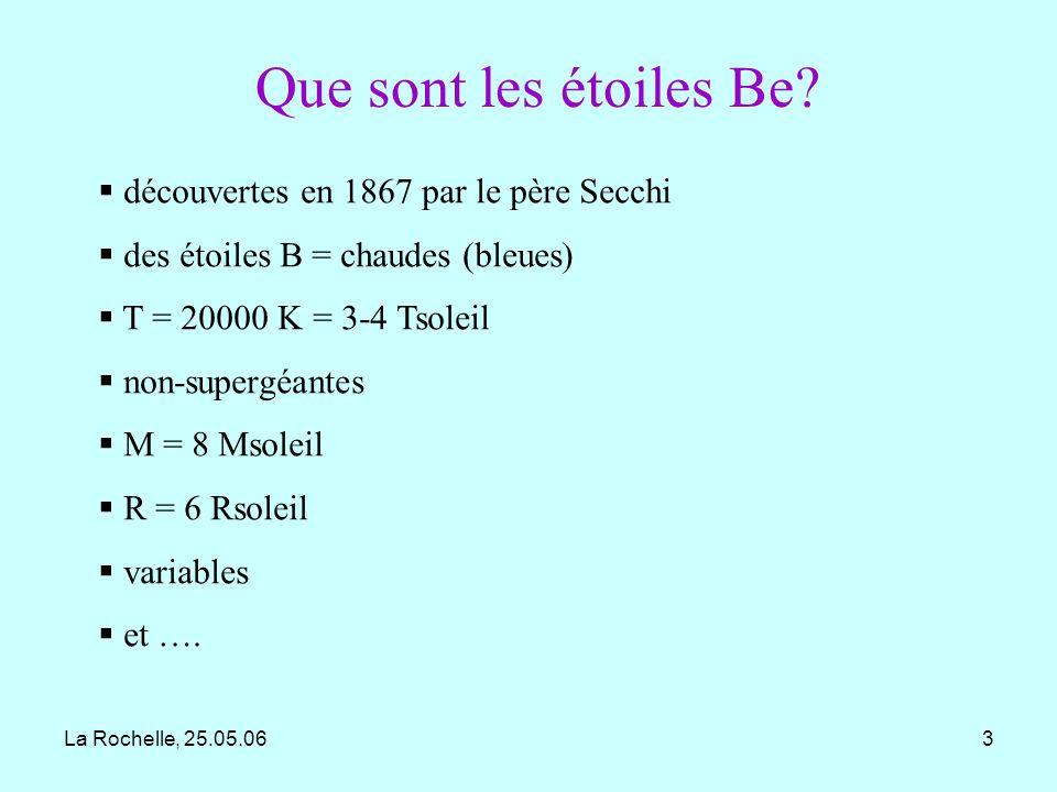 La Rochelle, 25.05.064 qui ont au moins une fois montré une raie en émission Be = B émission 20% des étoiles B particularité ou étape dans lévolution.