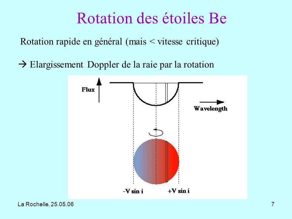 La Rochelle, 25.05.0628 Avec COROT on sattend à: beaucoup de détections de pulsations dans les étoiles Be chaudes (B0e à B3e) la détection de pulsations de faible amplitude pour les étoiles Be moins chaudes (B4e à B9e) qui nont pas été détectées jusquà présent, mais qui sont prévues par la théorie la détection de battement de pulsations