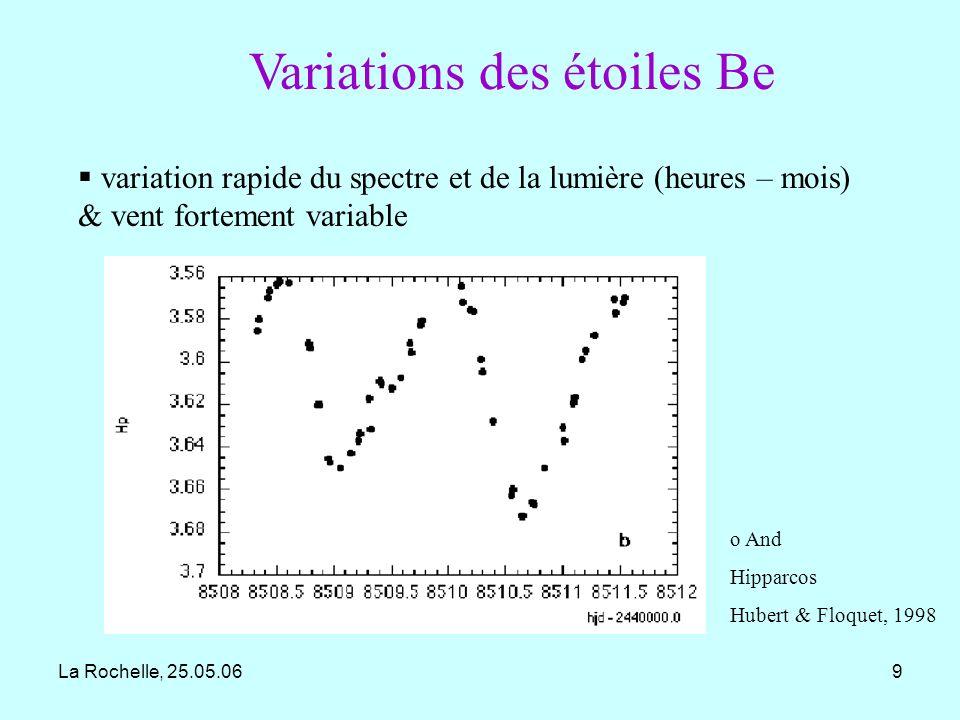 La Rochelle, 25.05.0610 variation cyclique à long-terme dans les raies spectrales (5- 20 ans) : oscillation globale du disque.