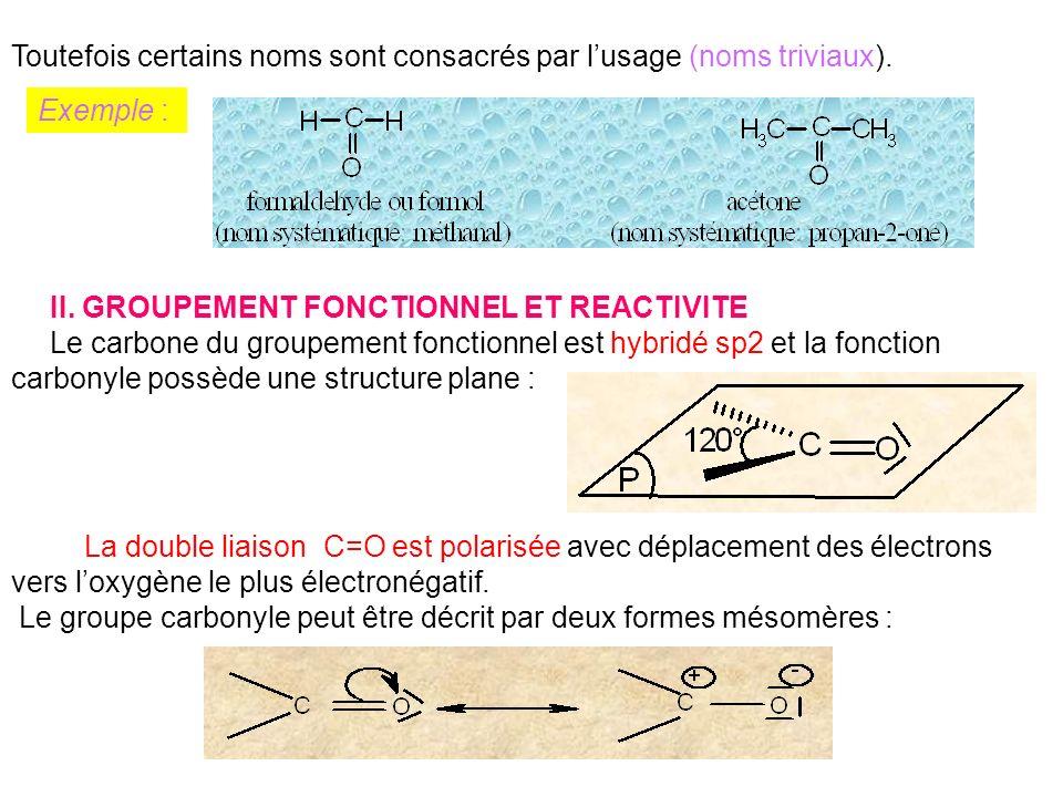 En terme de réactivité, les carbonyles subissent surtout des additions nucléophiles.
