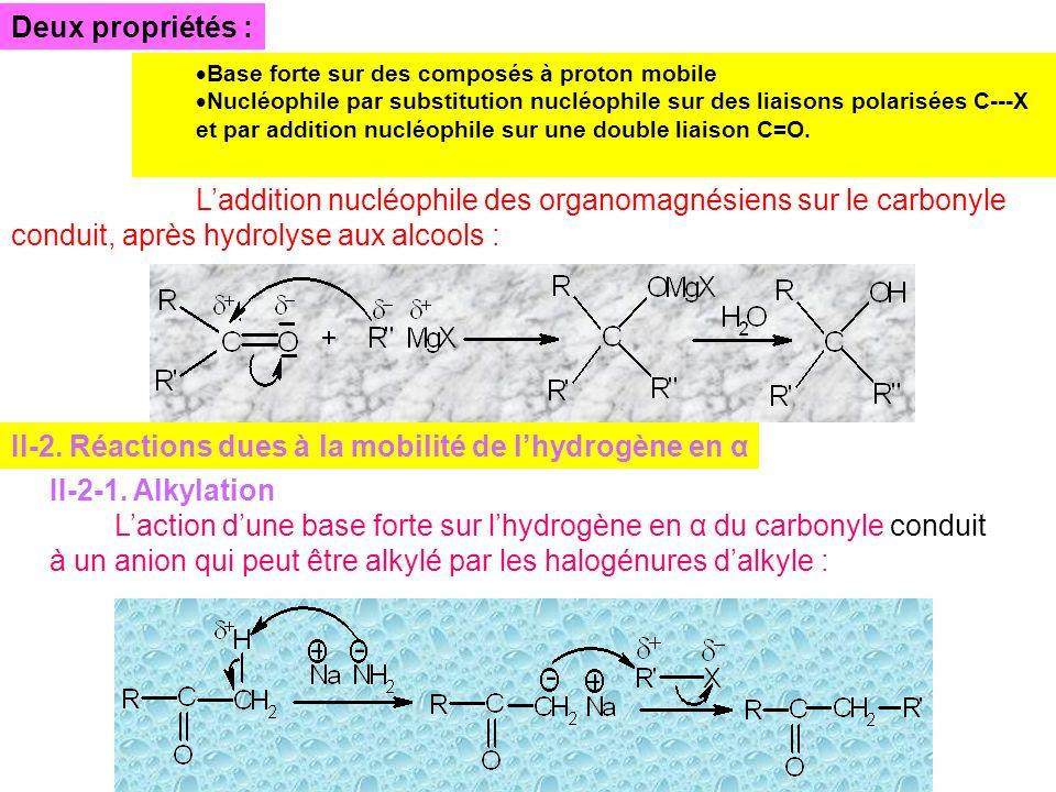 Laddition nucléophile des organomagnésiens sur le carbonyle conduit, après hydrolyse aux alcools : II-2. Réactions dues à la mobilité de lhydrogène en