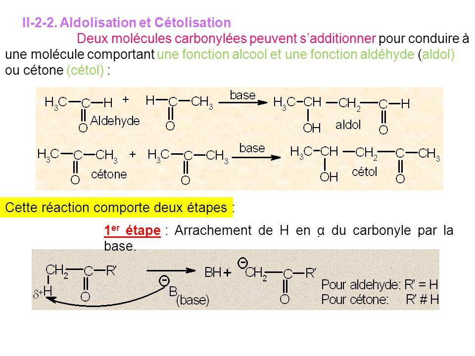 II-2-2. Aldolisation et Cétolisation Deux molécules carbonylées peuvent sadditionner pour conduire à une molécule comportant une fonction alcool et un