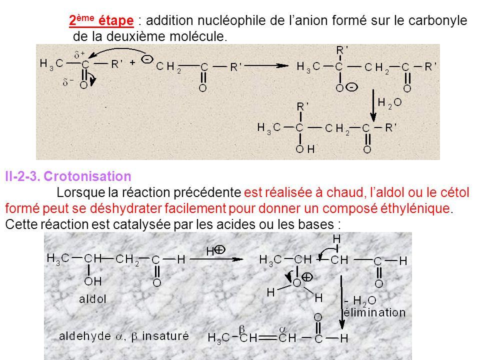 2 ème étape : addition nucléophile de lanion formé sur le carbonyle de la deuxième molécule. II-2-3. Crotonisation Lorsque la réaction précédente est