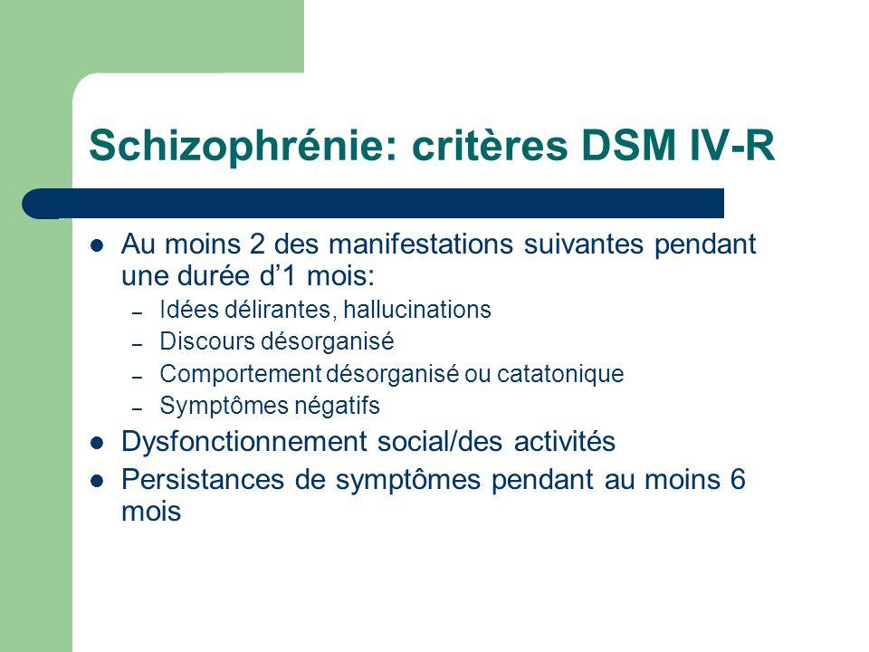 Schizophrénie: critères DSM IV-R Au moins 2 des manifestations suivantes pendant une durée d1 mois: – Idées délirantes, hallucinations – Discours déso
